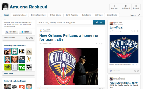 A screenshot of RebelMouse's dashboard.